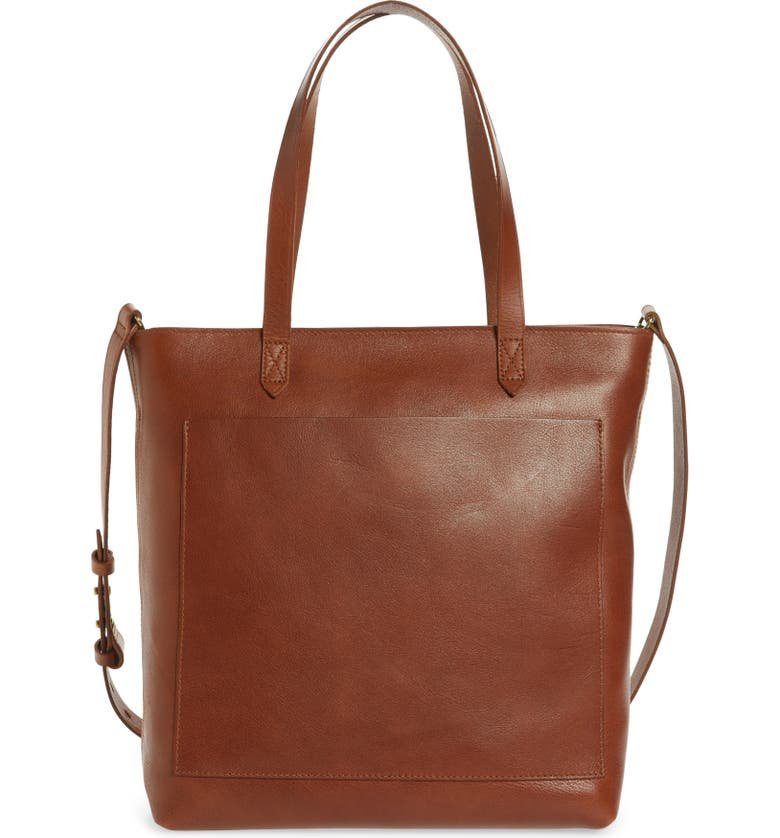 MADEWELL The Zip-Top Medium Transport Leather Tote, Main, color, ENGLISH SADDLE