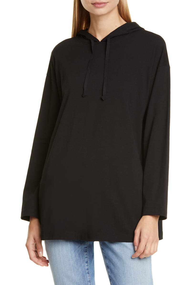 EILEEN FISHER Boxy Stretch Organic Cotton Hoodie, Main, color, 001