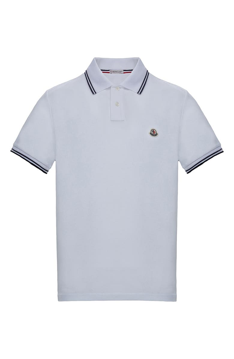 MONCLER Tipped Short Sleeve Polo, Main, color, 100