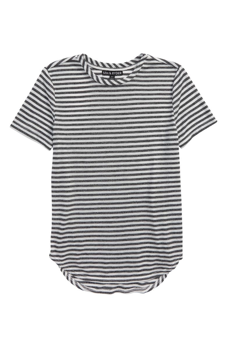 5TH AND RYDER Elwood Curved Hem Space Dye T-Shirt, Main, color, GREY/ IVORY STRIPE