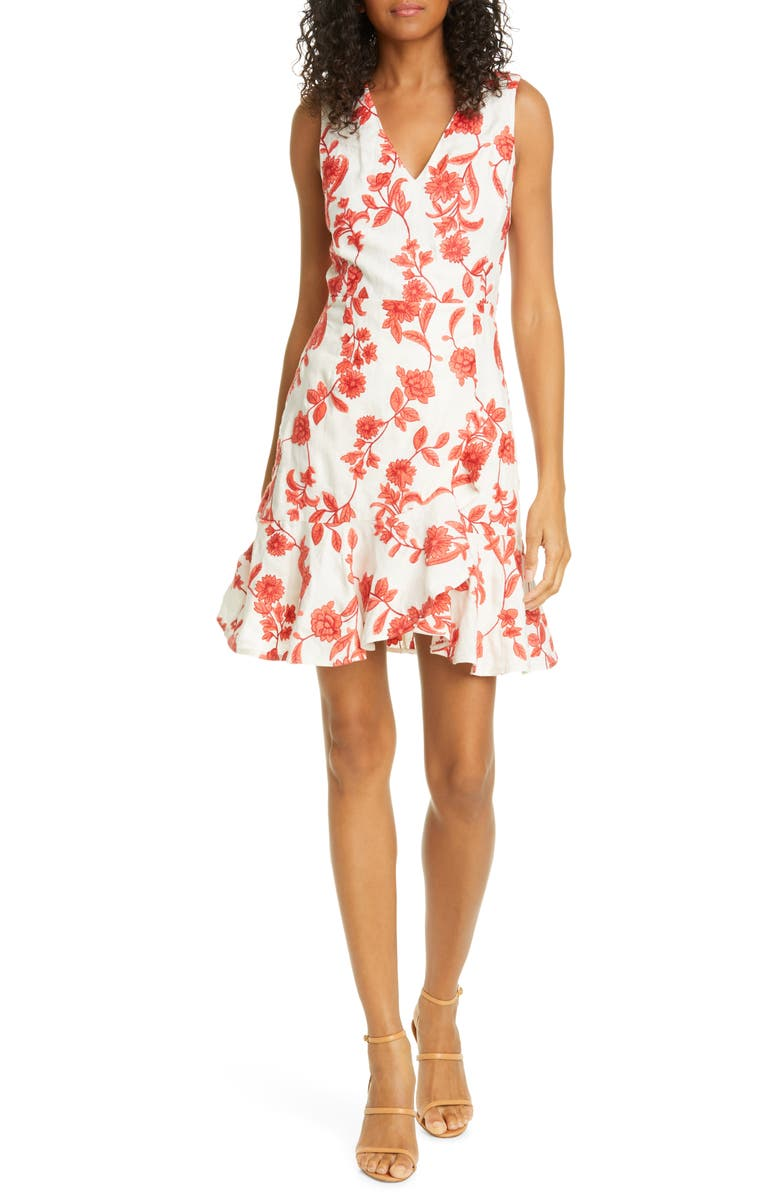 REBECCA TAYLOR Scarlet Floral Sleeveless Linen Dress, Main, color, IVORY/ RED CORAL