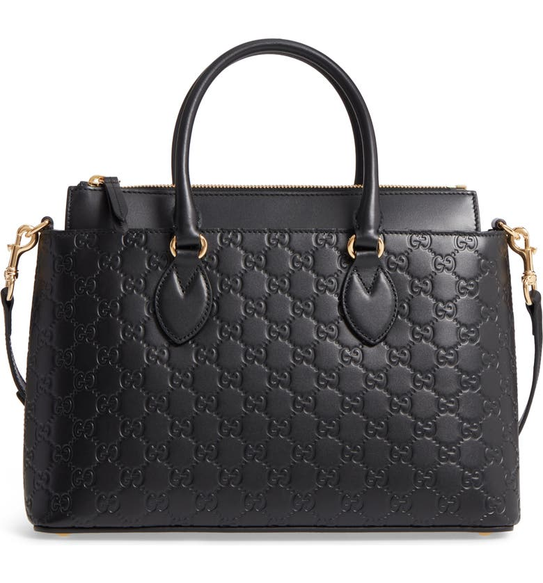 GUCCI Small Top Handle Signature Leather Satchel, Main, color, 001