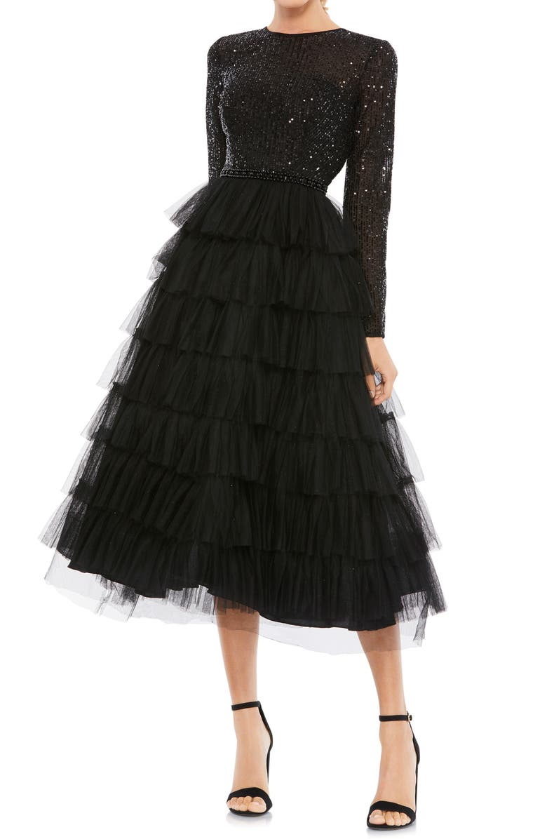 MAC DUGGAL Sequin Tiered Long Sleeve Tulle Dress, Main, color, BLACK