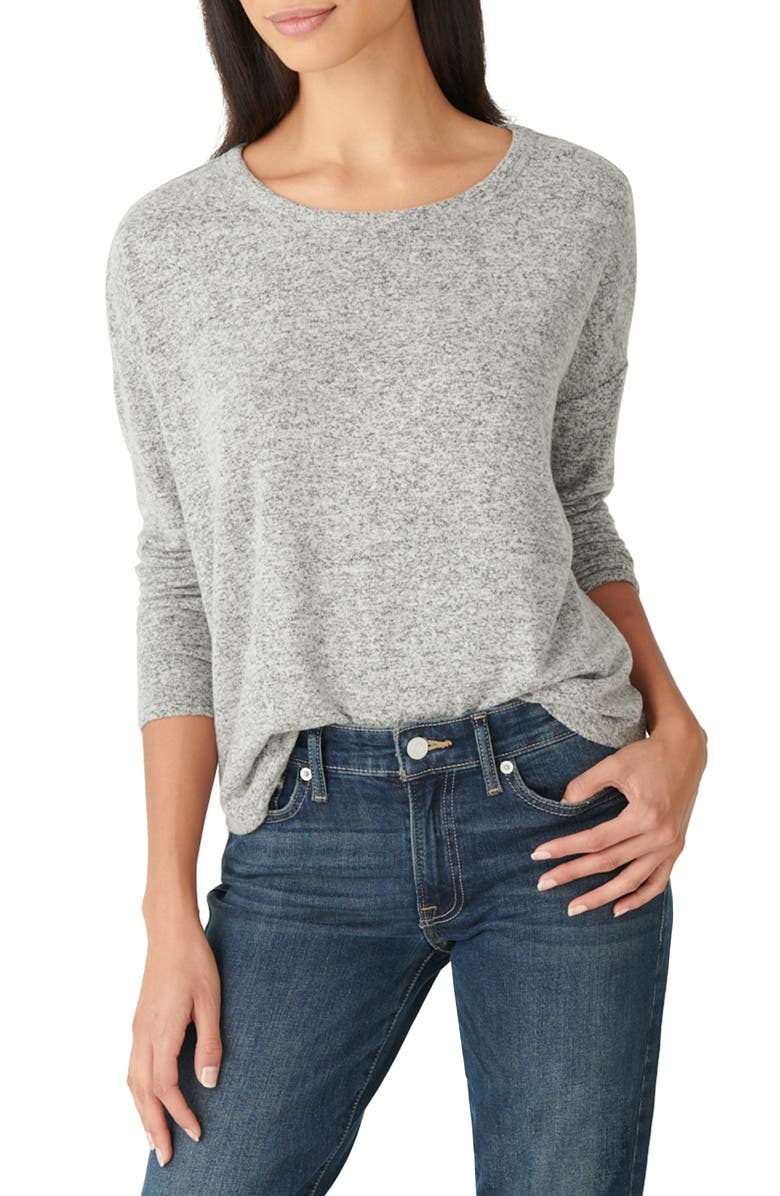 LUCKY BRAND Hacci Crewneck Top, Main, color, HT.GREY