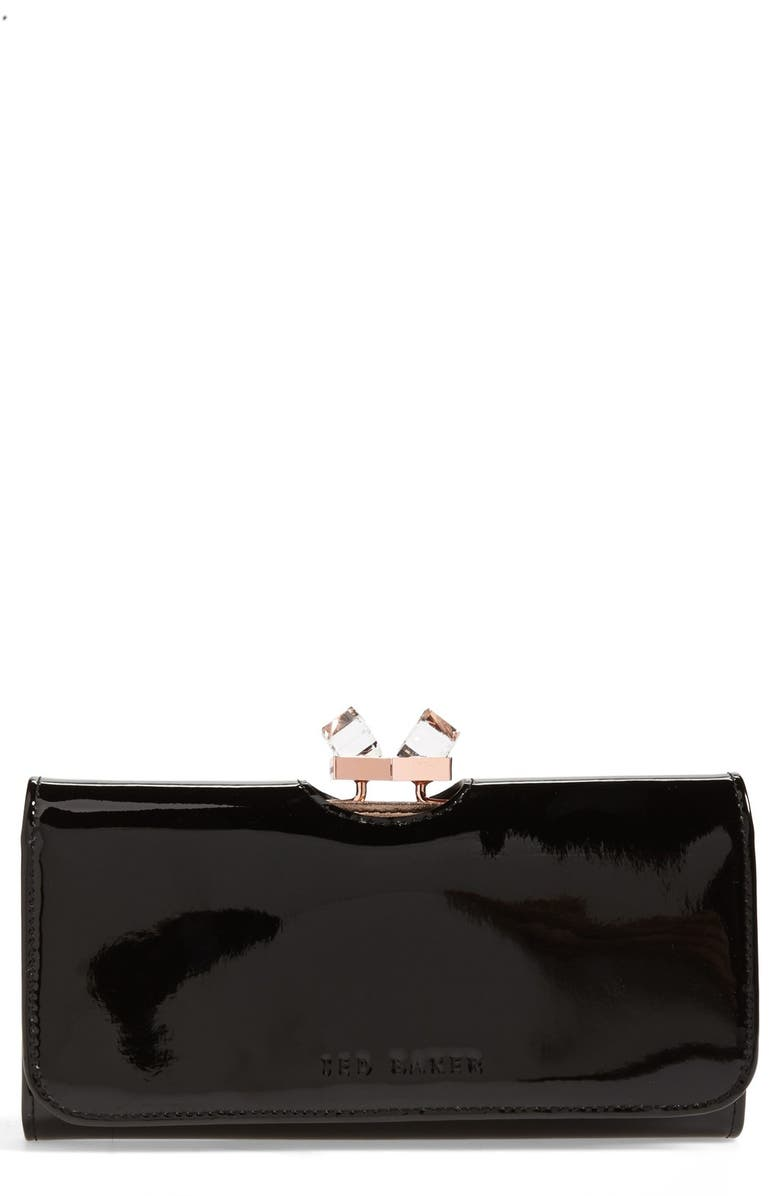 TED BAKER LONDON 'Crystal Frame' Patent Leather Matinee Wallet, Main, color, 001