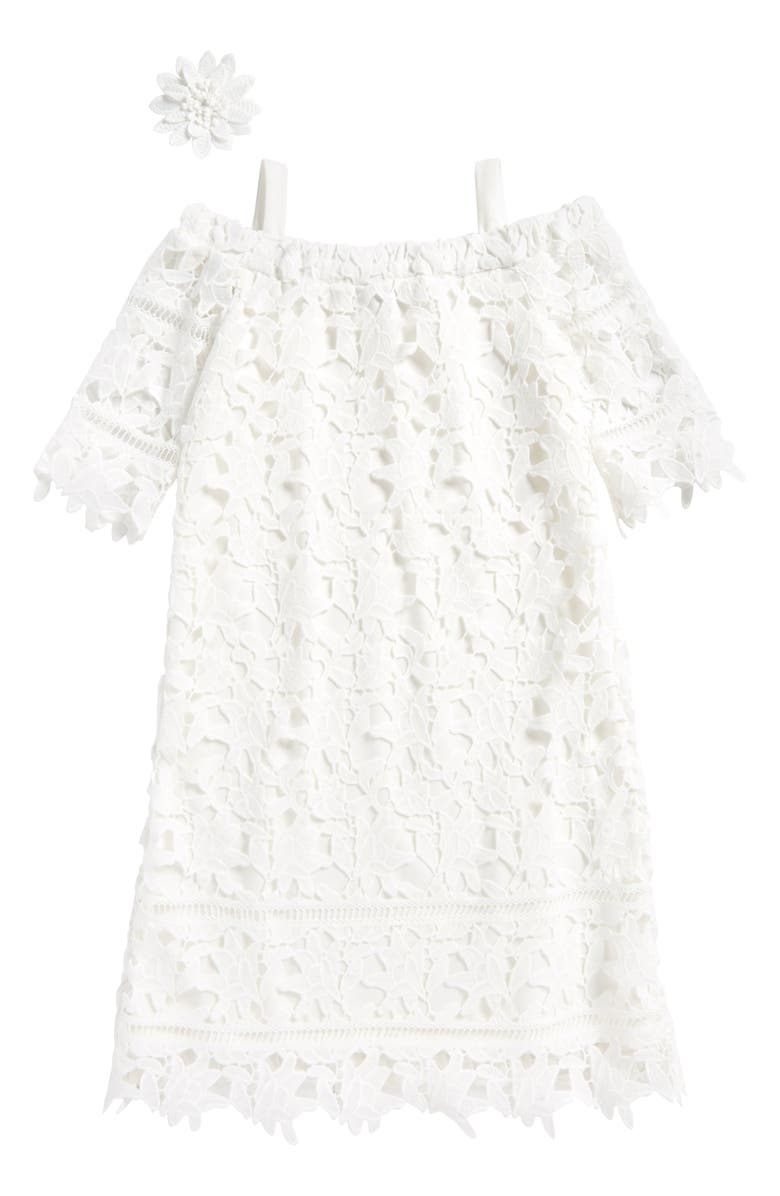 AVA & YELLY Lace Cold Shoulder Shift Dress, Main, color, White