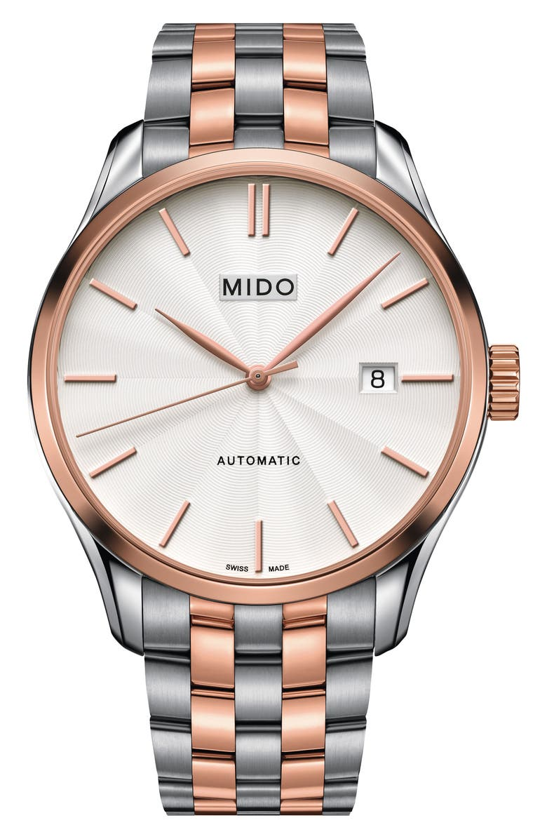 MIDO Belluna II Bracelet Watch, 40mm, Main, color, SILVER/ WHITE/ ROSE GOLD