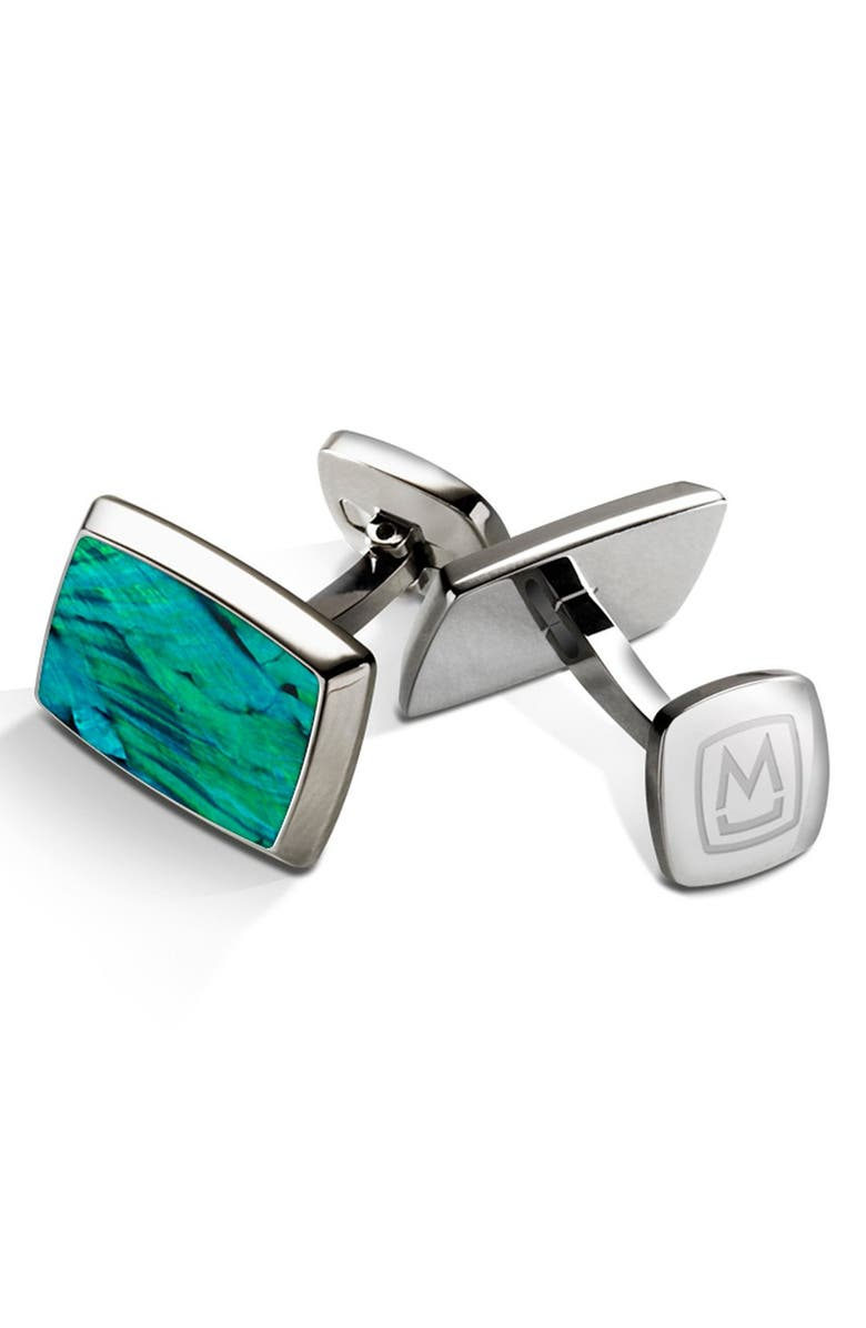 M-CLIP<SUP>®</SUP> Abalone Cuff Links, Main, color, STAINLESS STEEL/ TEAL
