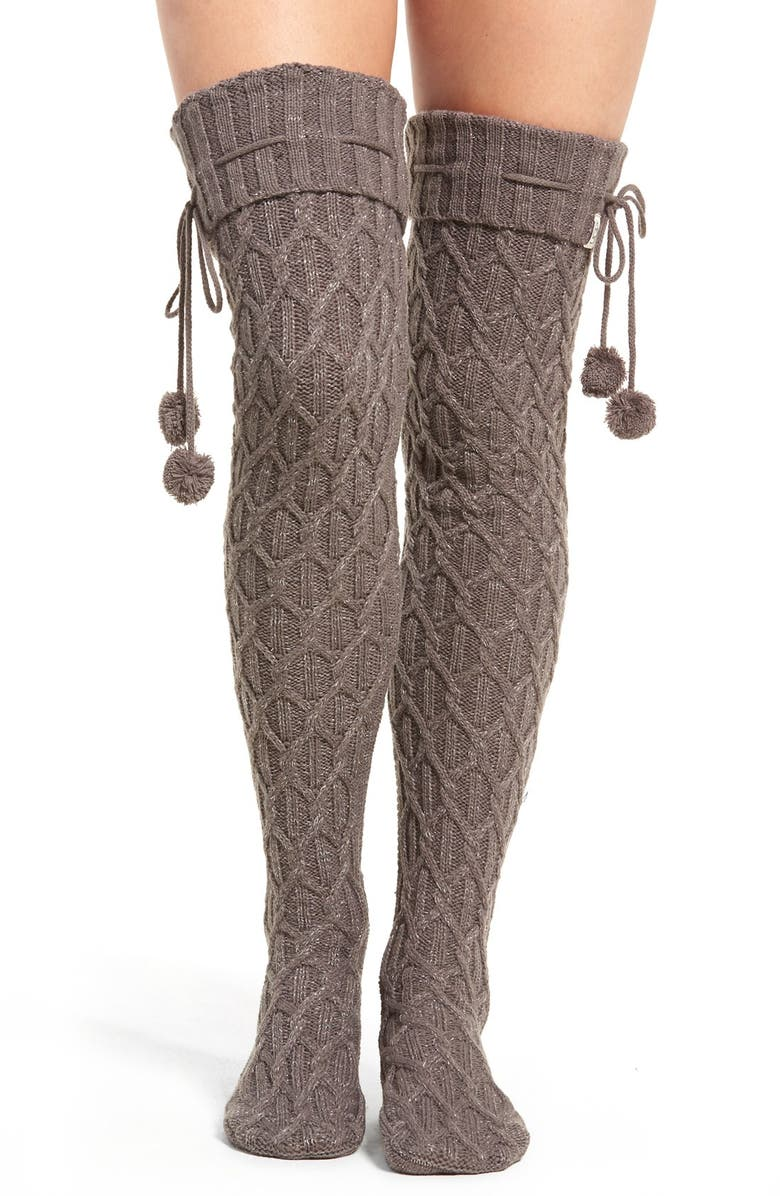 UGG<SUP>®</SUP> Sparkle Cable Knit Socks, Main, color, CHARCOAL HEATHER WITH SILVER