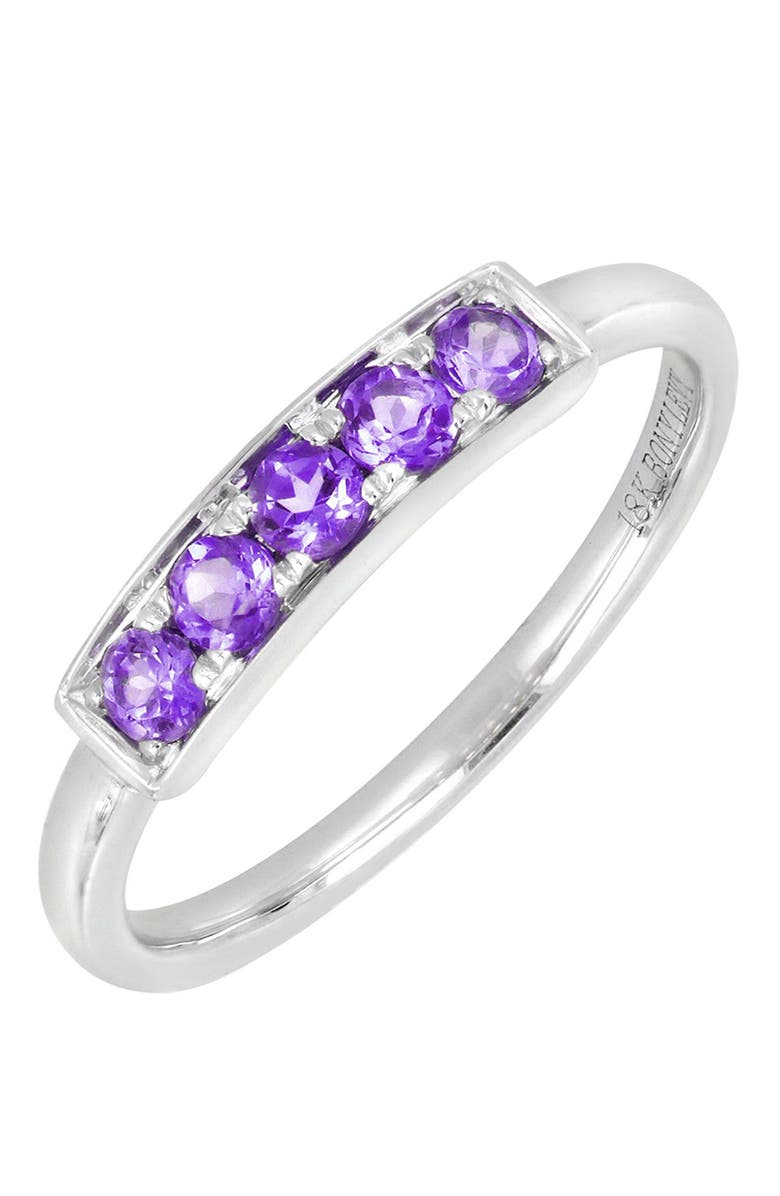 BONY LEVY 18K White Gold Prong Set Amethyst Stackable Ring, Main, color, 18K WHITE GOLD