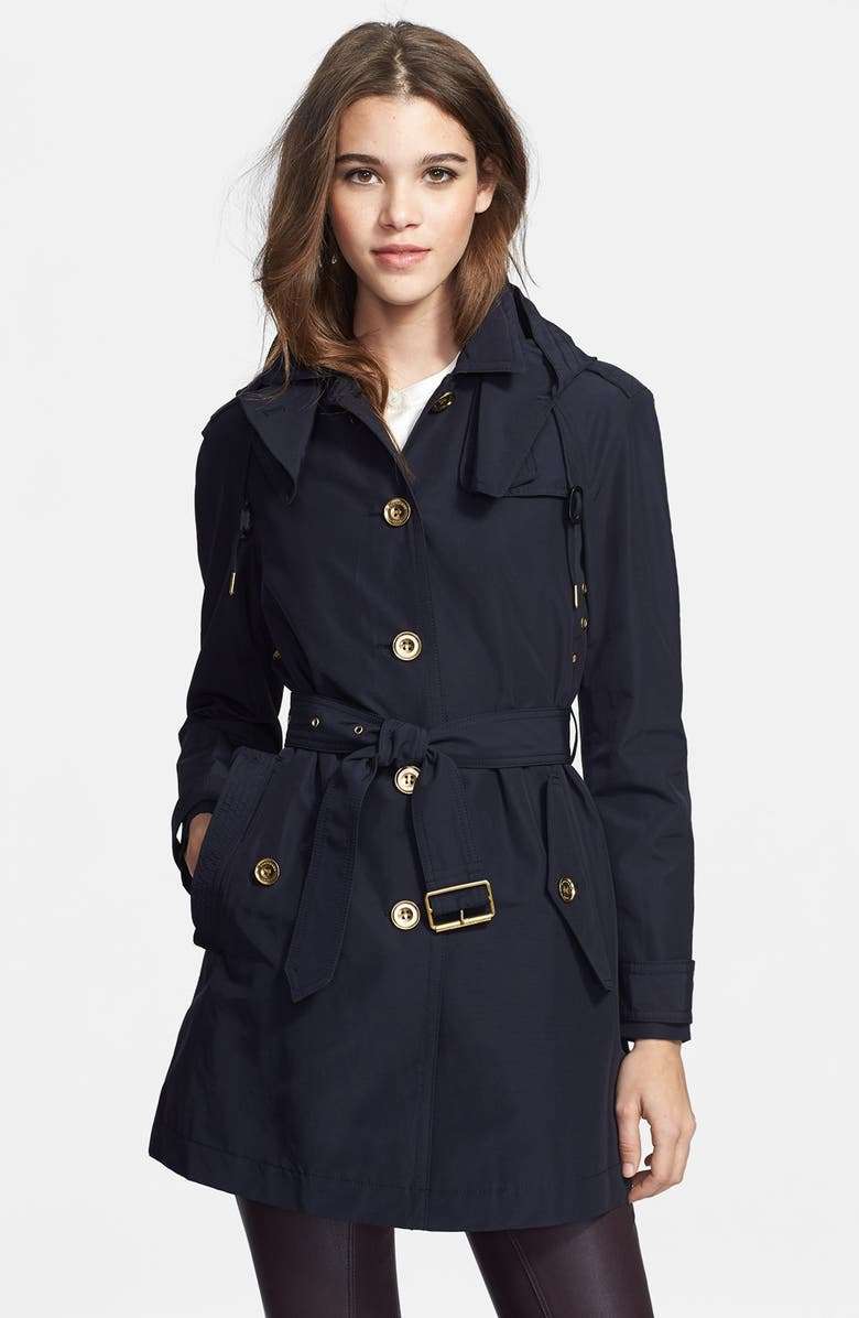 BURBERRY BRIT 'Levinford' Single Breasted Hooded Trench Coat, Main, color, NAVY
