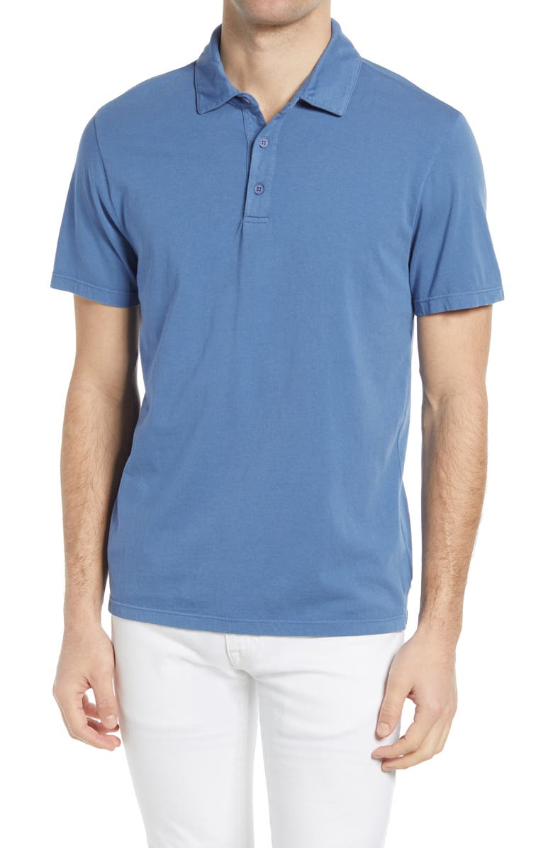 VINCE Regular Fit Garment Dyed Cotton Polo Shirt, Main, color, WASHED TAHOE BLUE