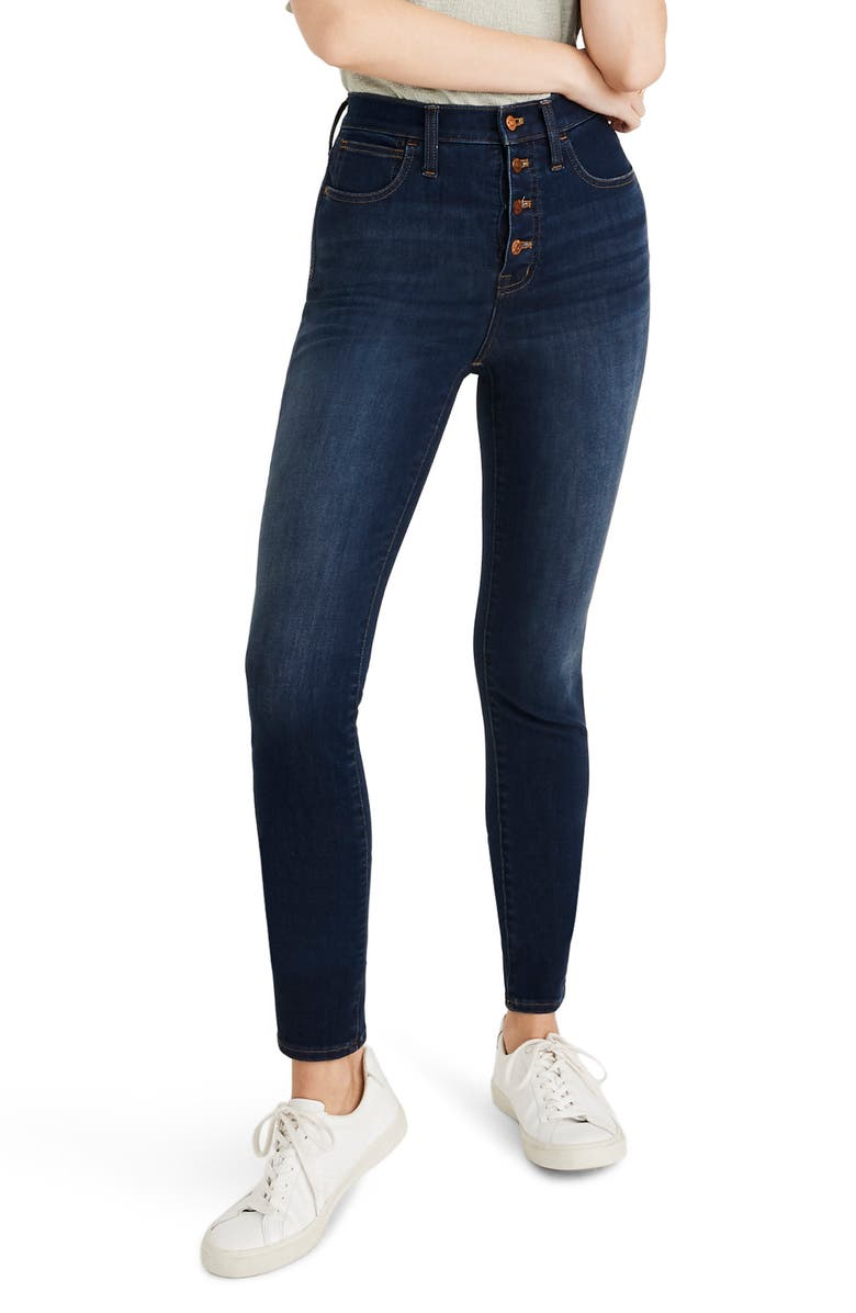 MADEWELL 10-Inch High Waist Skinny Jeans: Button Front Edition, Main, color, 400