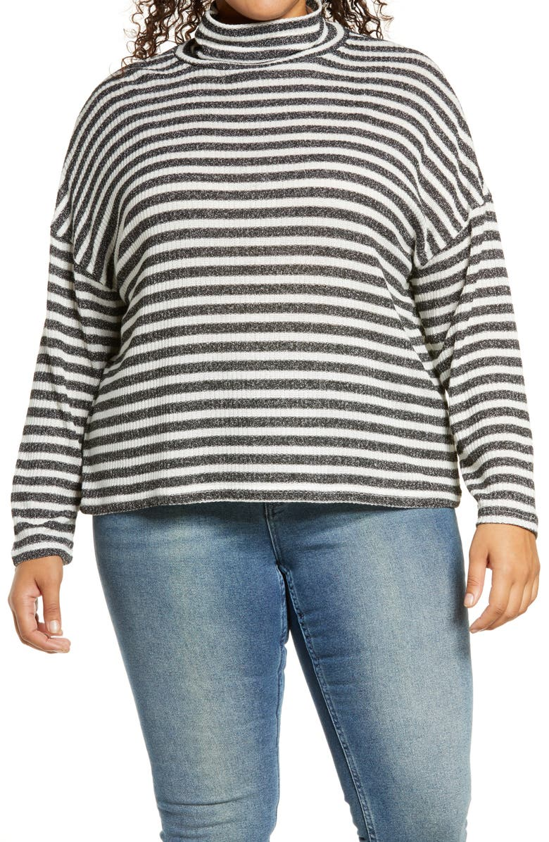 SANCTUARY Women's Nikolai Metallic Stripe Pullover, Main, color, METALLIC BLACK/ MILK STRIPE