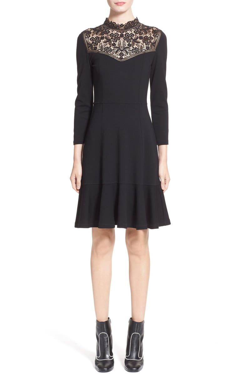 ERDEM 'Rieko' Lace Inset Jersey Dress, Main, color, 001