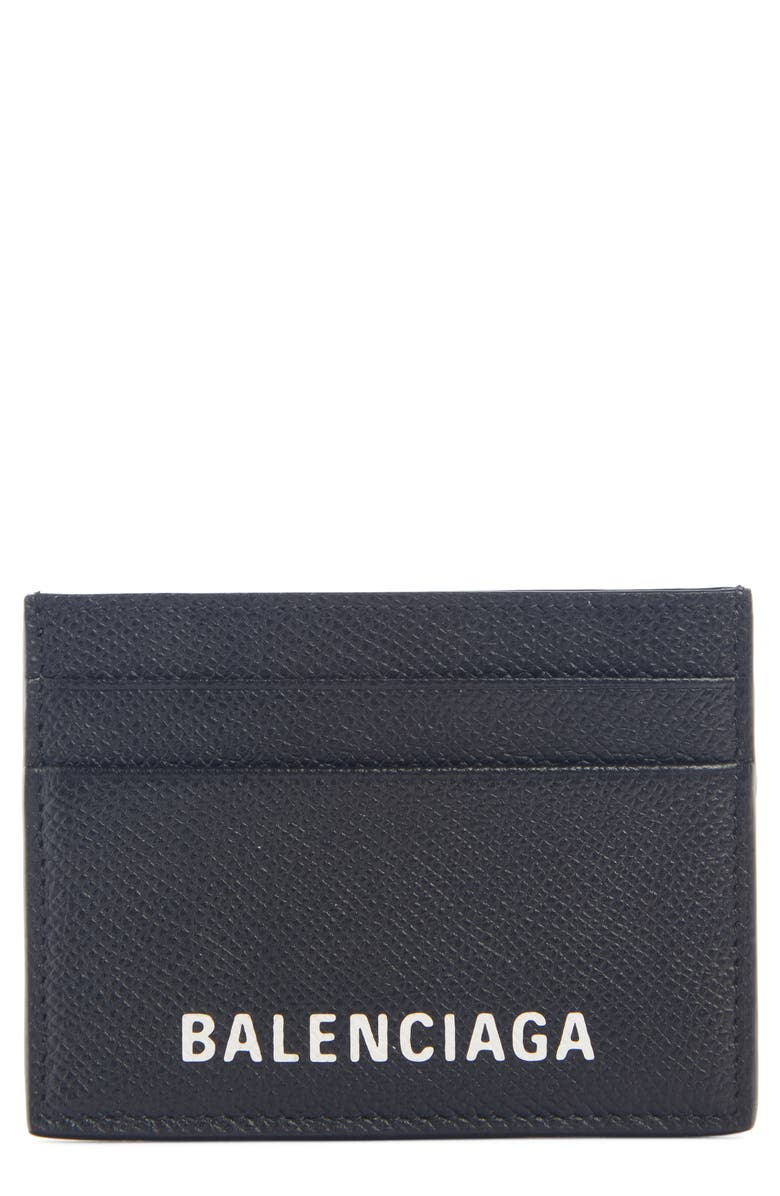 BALENCIAGA Ville Pebbled Leather Card Holder, Main, color, 011