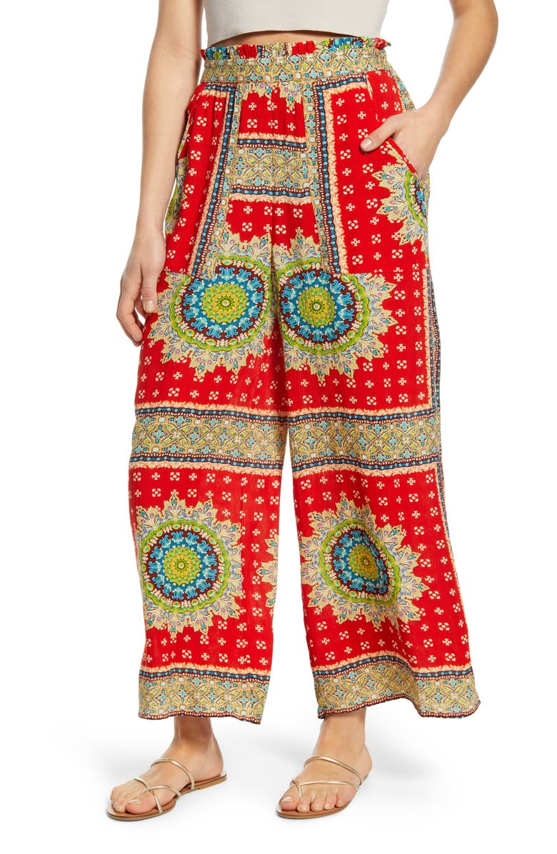 BAND OF GYPSIES Angel Falls Pants, Main, color, RED/ BEIGE