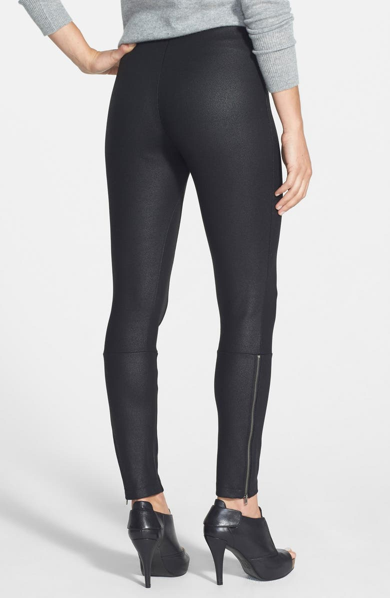LYSSÉ 'Simone' Coated Ponte Knit Control Top Leggings, Main, color, 001
