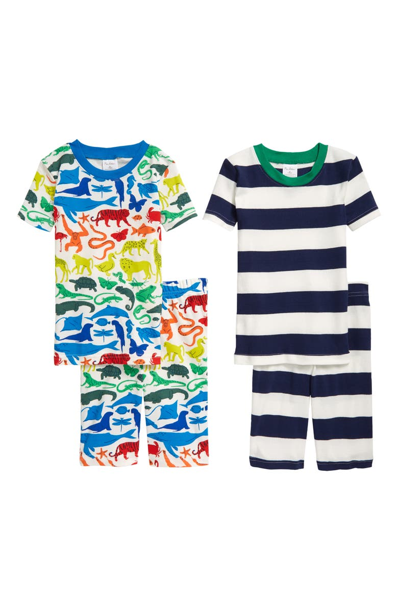 MINI BODEN Kids' 2-Pack Fitted Two-Piece Short Pajamas, Main, color, IVORY RAINBOW ANIMALS