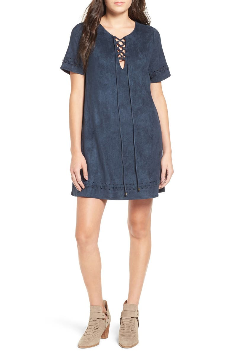 MOON RIVER Lace-Up Faux Suede Shift Dress, Main, color, DARK TEAL
