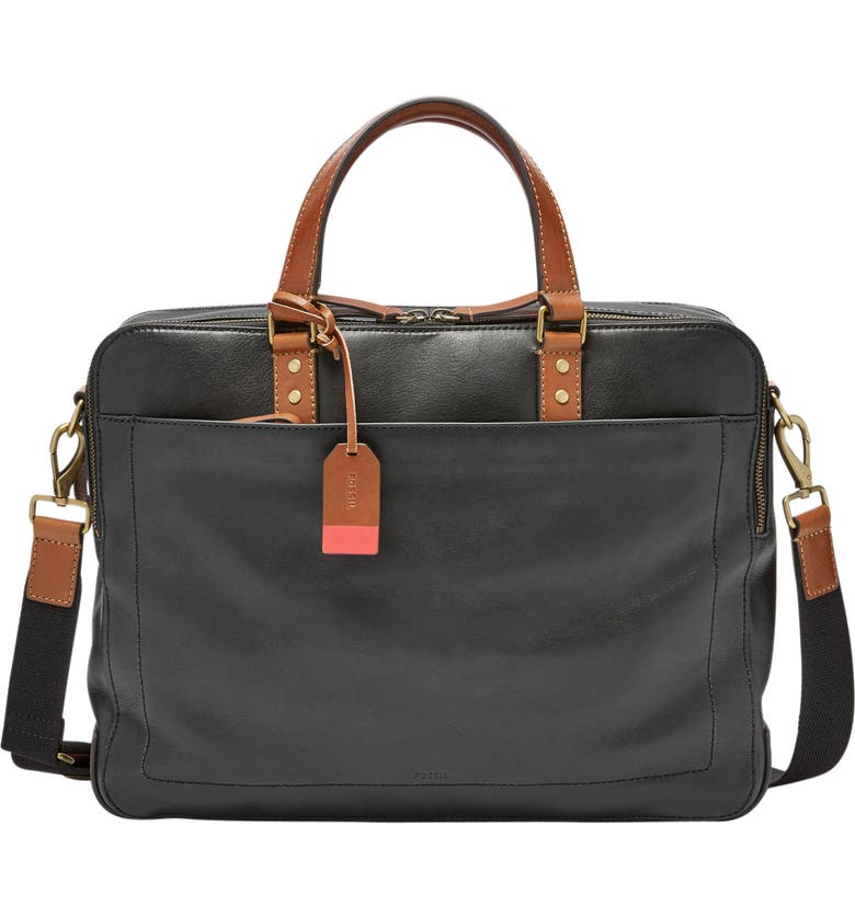 FOSSIL Defender Leather Briefcase, Main, color, 001