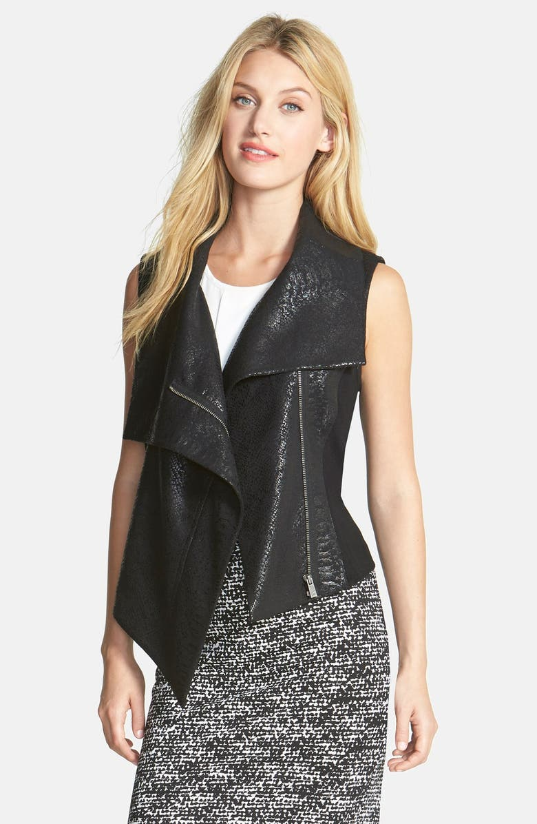 TWO BY VINCE CAMUTO Animal Jacquard Asymmetrical Vest, Main, color, 006