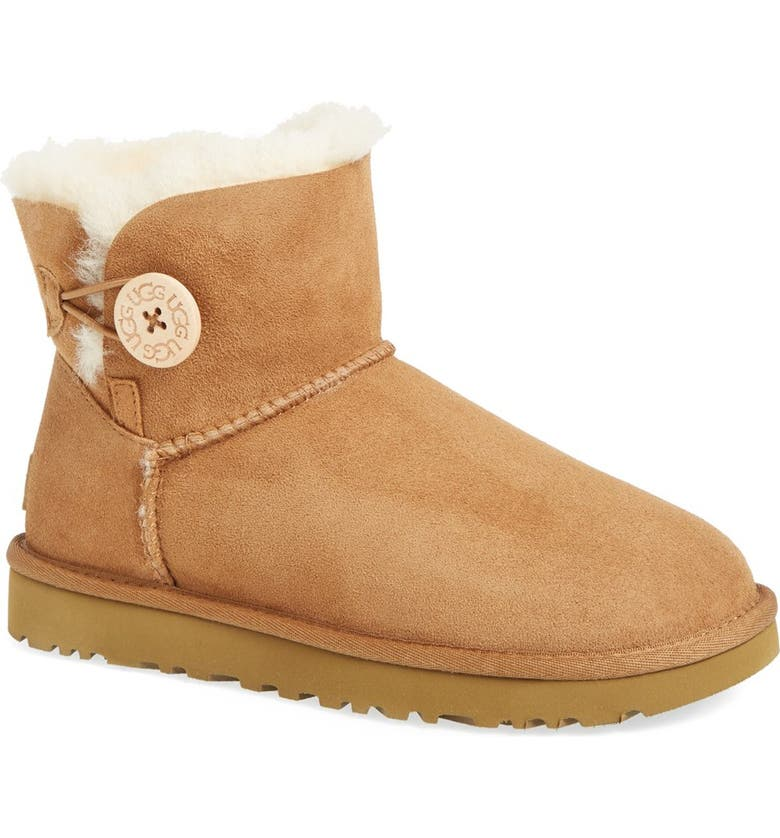 UGG<SUP>®</SUP> Mini Bailey Button II Genuine Shearling Boot, Main, color, CHESTNUT SUEDE