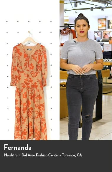 Floral Long Sleeve Tiered Midi Dress, sales video thumbnail