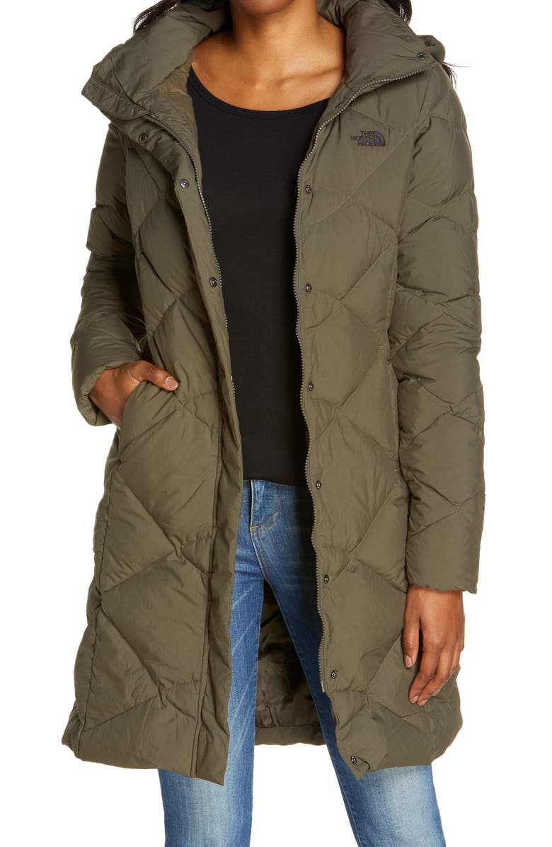 THE NORTH FACE Miss Metro II Hooded Water Resistant Down Parka, Main, color, NEW TAUPE GREEN