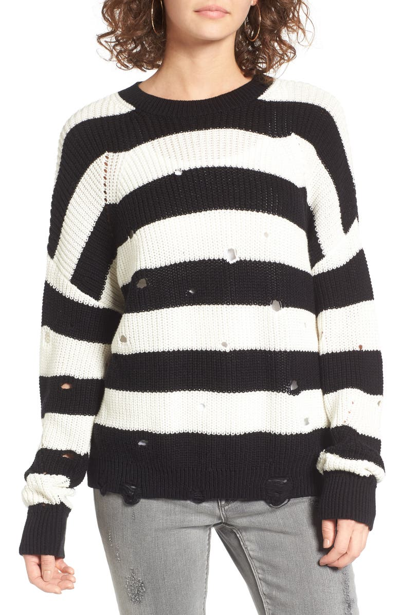 BP. Decontructed Stripe Cotton Pullover, Main, color, BLACK RUGBY STRIPE