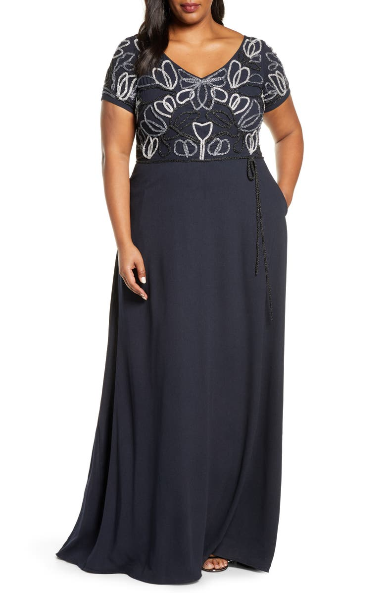 JS COLLECTIONS Chain Mail Soutache Gown, Main, color, NAVY