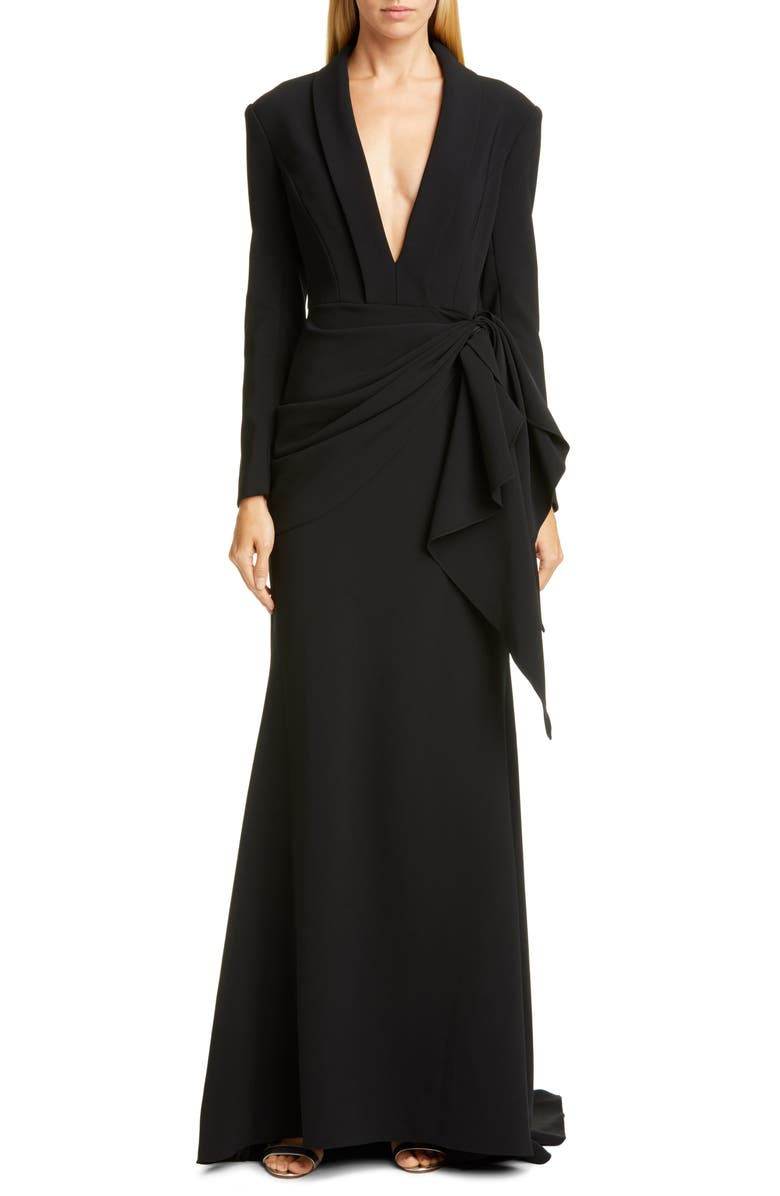 CHRISTIAN SIRIANO Long Sleeve V-Neck Trumpet Gown, Main, color, 001