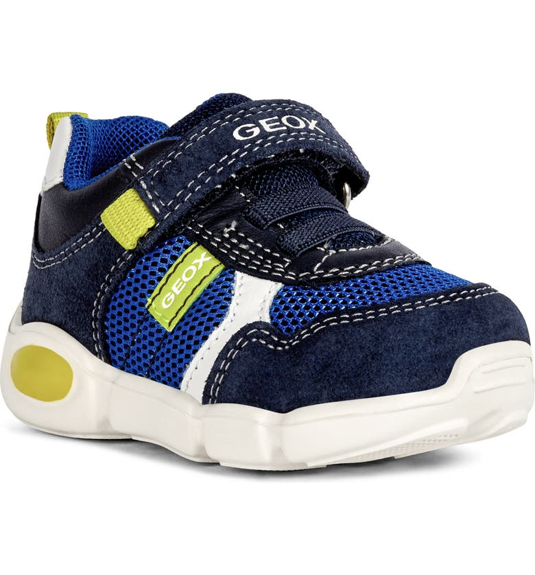 GEOX Pillow Sneaker, Main, color, NAVY/ LIME