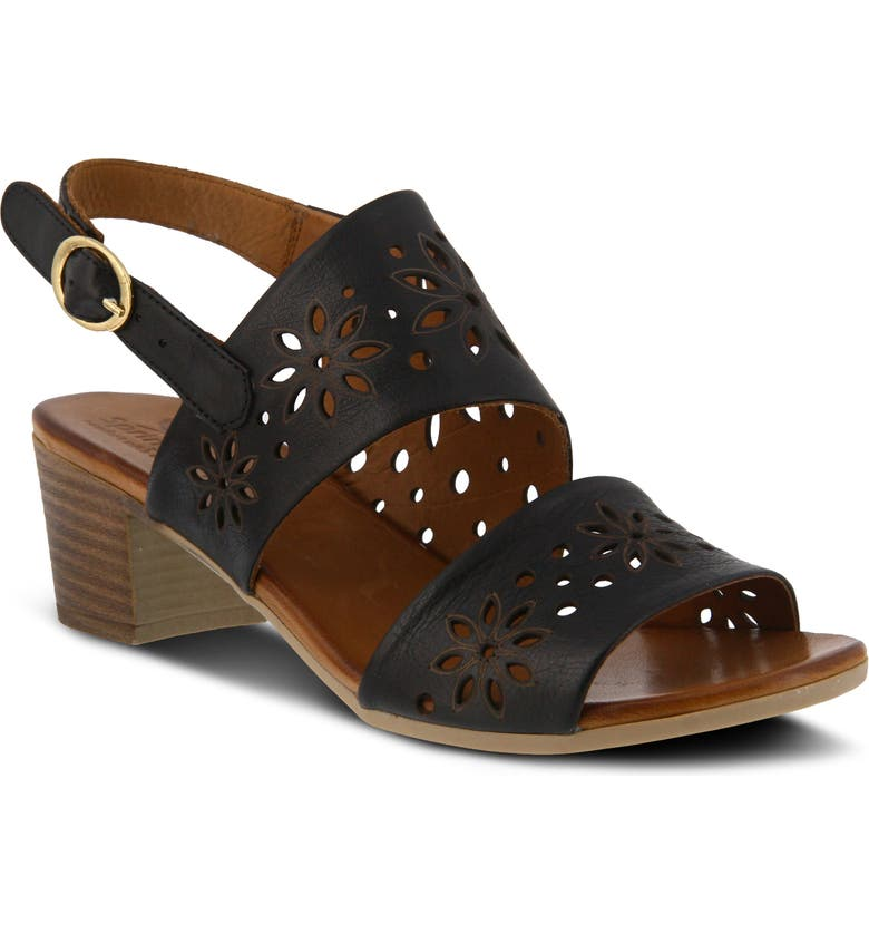 SPRING STEP Mandalay Sandal, Main, color, BLACK LEATHER