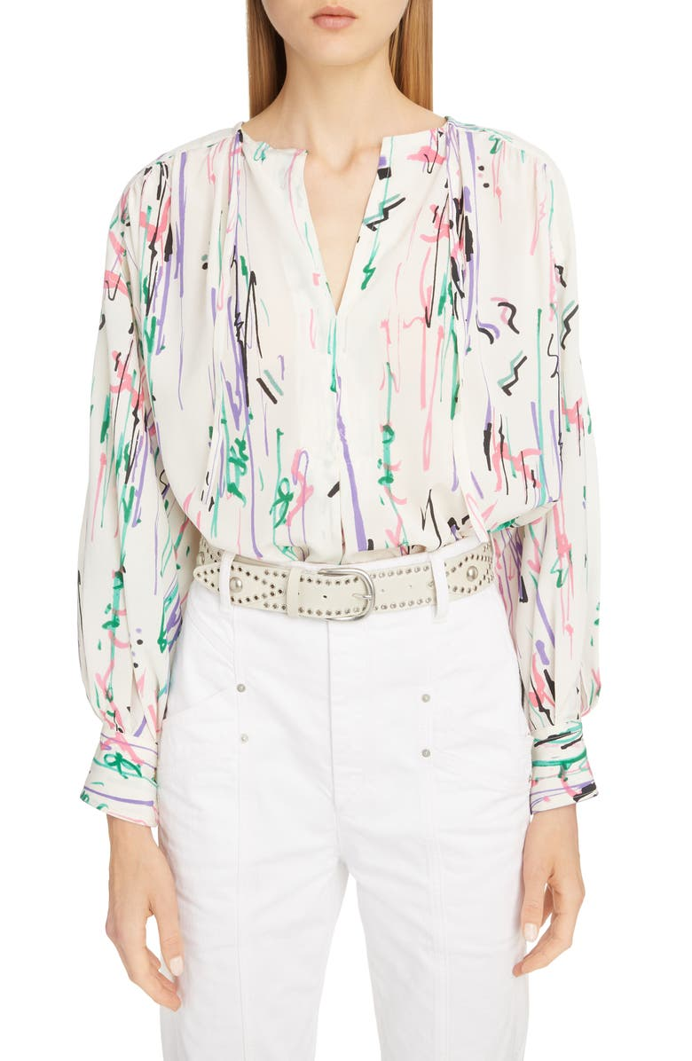 ISABEL MARANT Scribble Print Stretch Silk Blouse, Main, color, 900