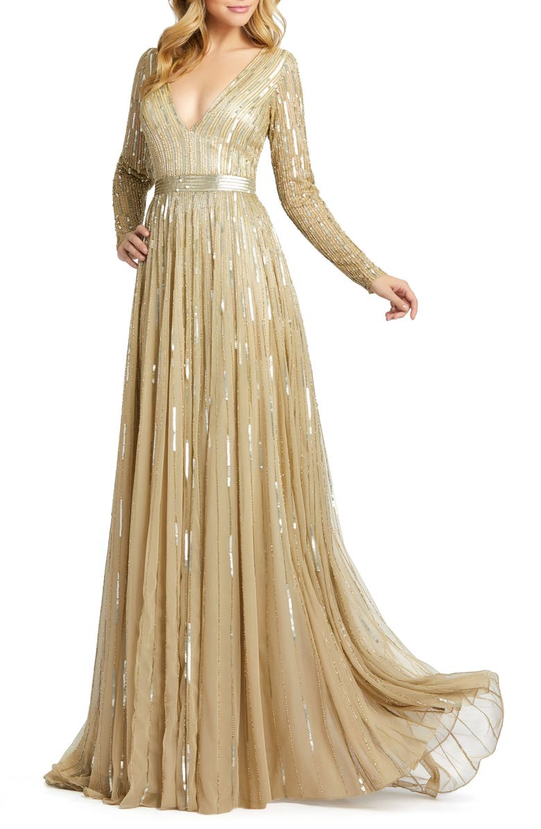 MAC DUGGAL Long Sleeve Sequin & Bead Stripe Gown, Main, color, TAUPE
