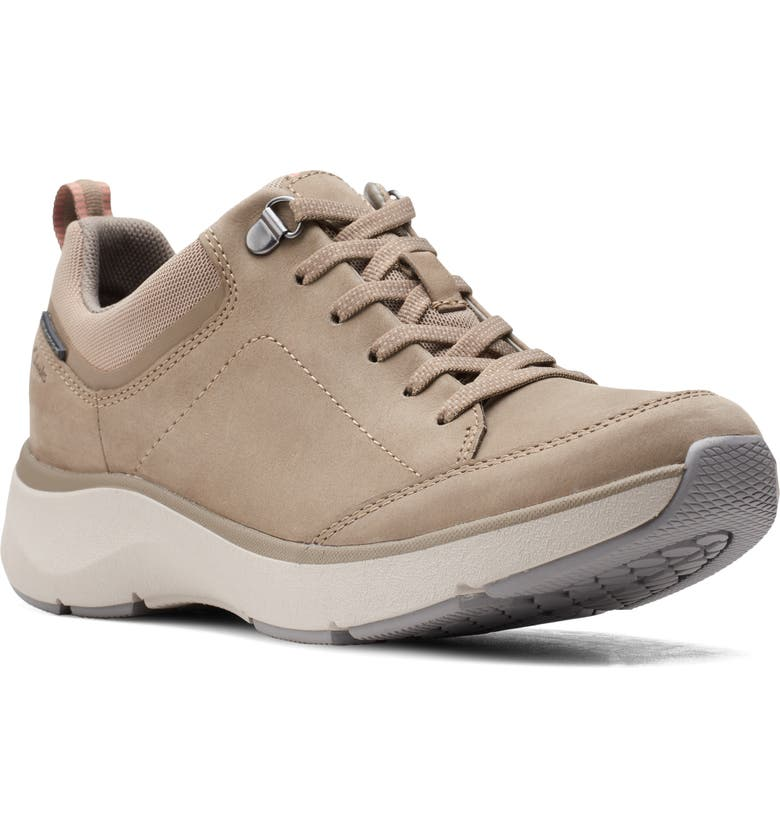 CLARKS<SUP>®</SUP> Wave 2.0 Waterproof Sneaker, Main, color, SAGE NUBUCK LEATHER