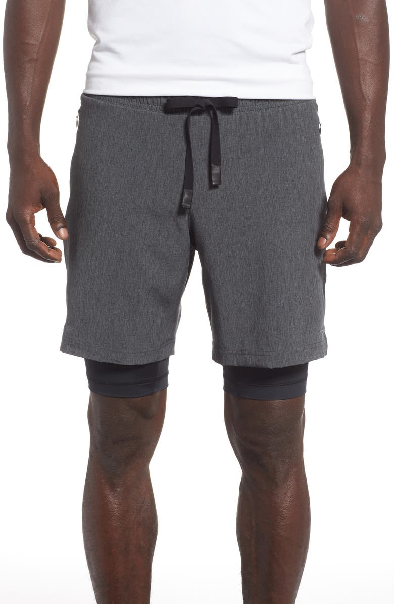 ALO Unity 2-in-1 Shorts, Main, color, DARK GREY MARL/ BLACK