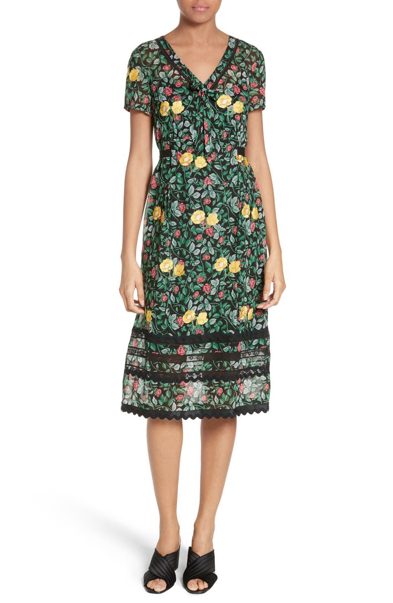 COACH 1941 Lace Trim Embroidered Dress, Main, color, 398