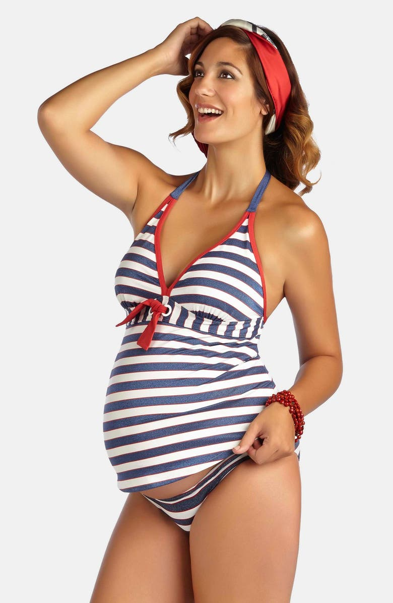 PEZ D'OR Palm Springs Two-Piece Maternity Swimsuit, Main, color, NAVY/ RED