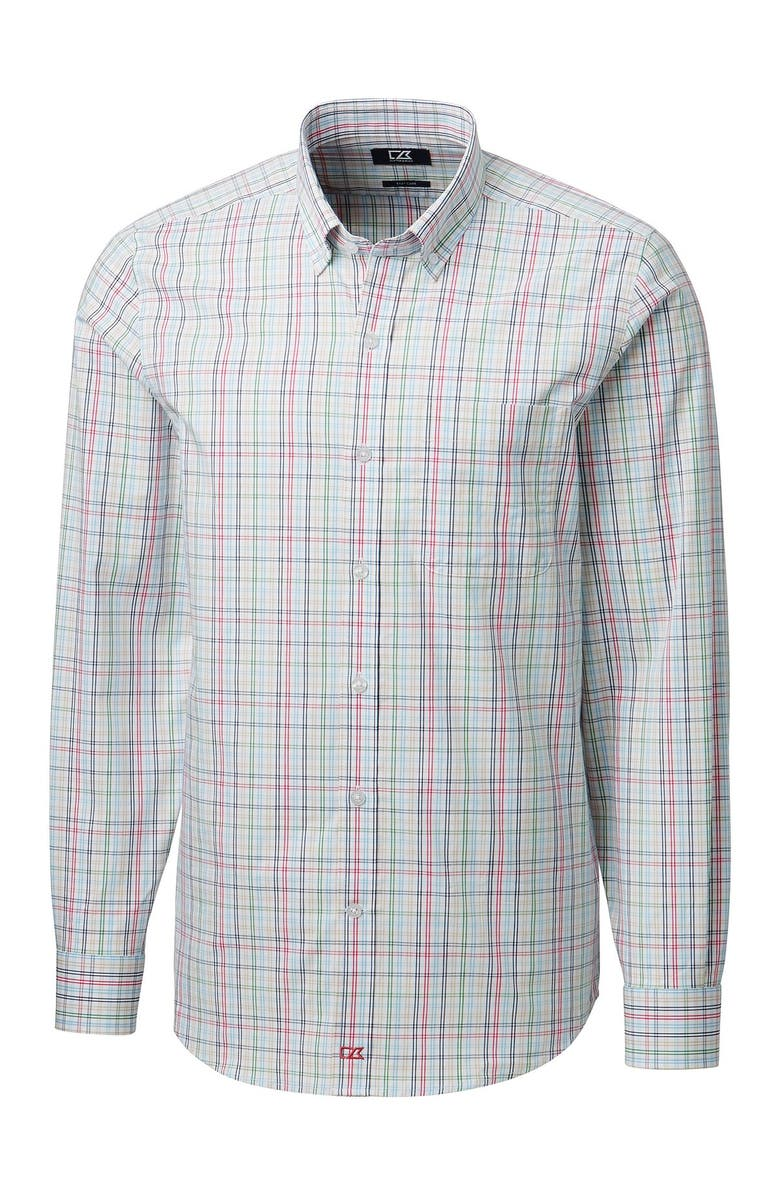 CUTTER AND BUCK Anchor Multi Plaid Tailored Fit Long Sleeve Shirt, Main, color, EMBARK