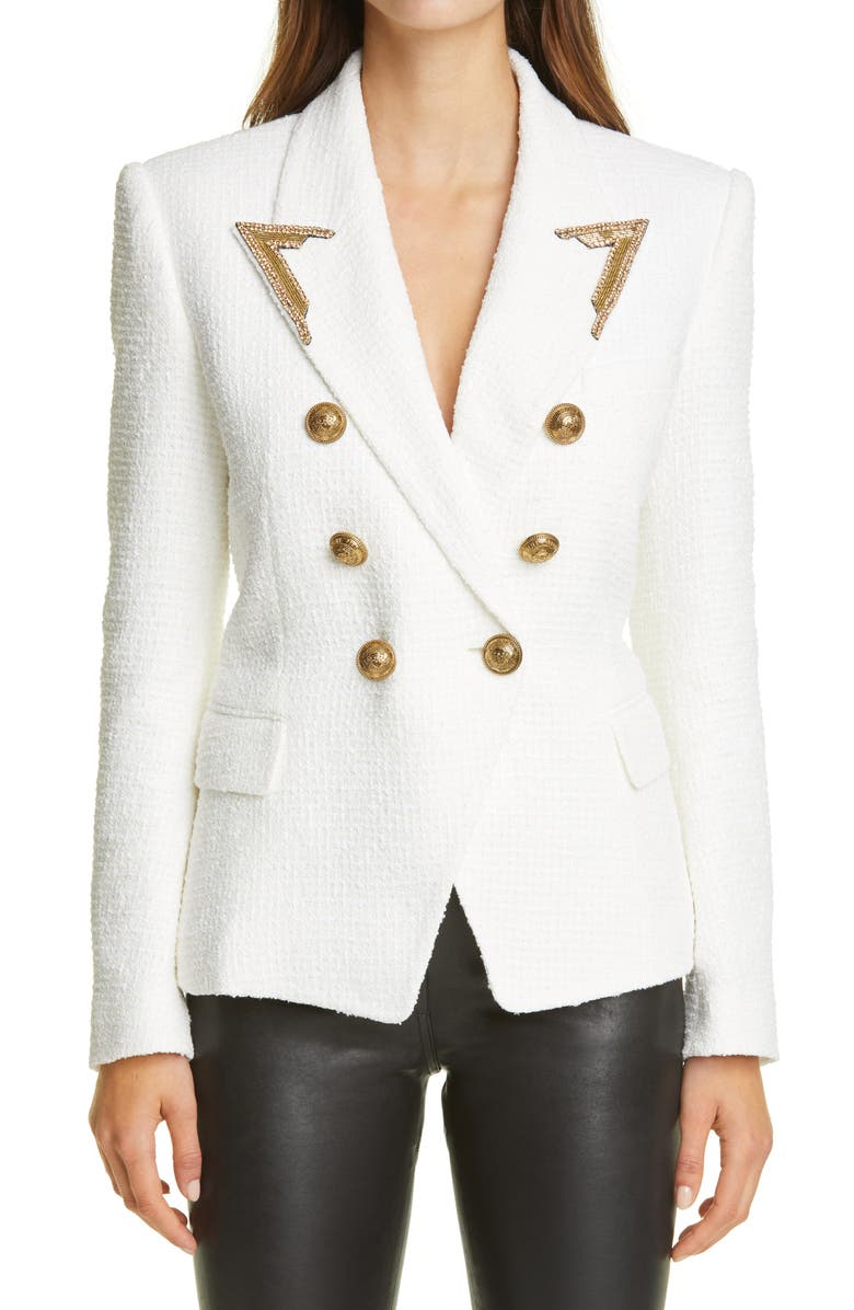 BALMAIN Embellished Lapel Double Breasted Tweed Blazer, Main, color, 100