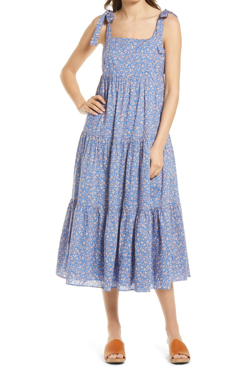 MADEWELL Tie Strap Tiered Midi Dress, Main, color, SUMMER VINES HERMITAGE BLUE