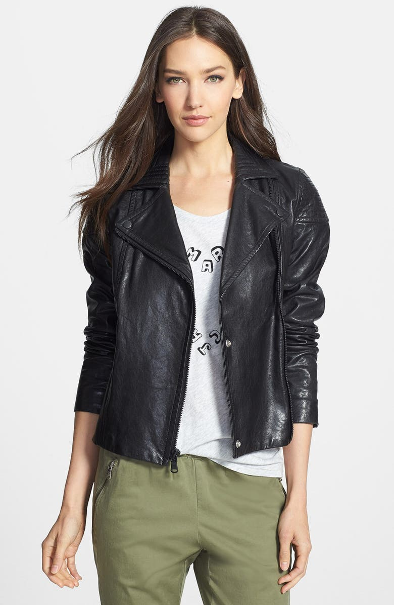 MARC BY MARC JACOBS 'Karlie' Leather Moto Jacket, Main, color, 001