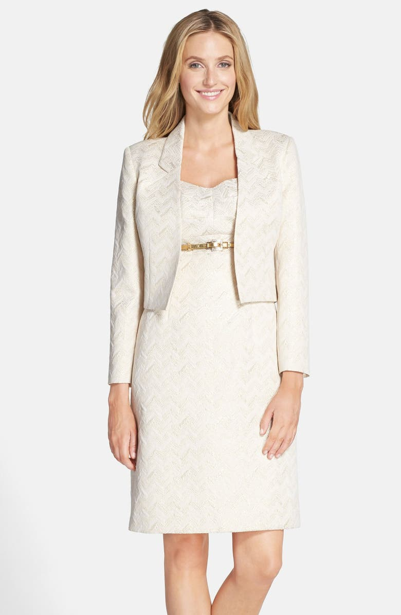 TAHARI Belted Metallic Jacquard Sheath with Jacket, Main, color, 250
