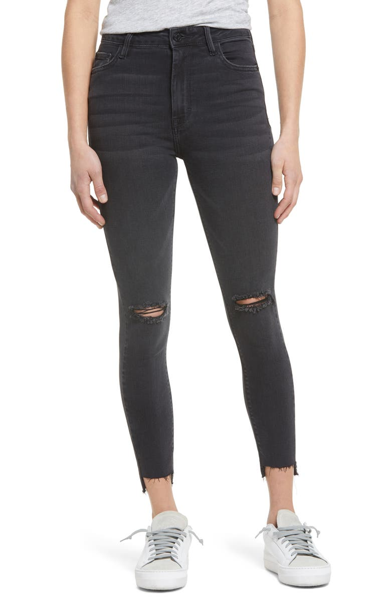 HIDDEN JEANS Ripped High Waist Ankle Skinny Jeans, Main, color, BLACK