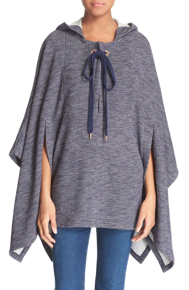 SEE BY CHLOÉ Knit Hooded Poncho, Main, color, INK