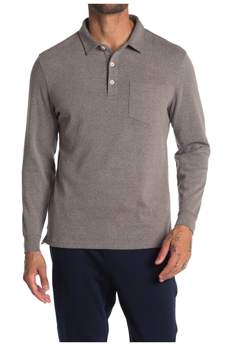 THE NORMAL BRAND Long Sleeve Knit Polo, Main, color, ATHLETIC GREY