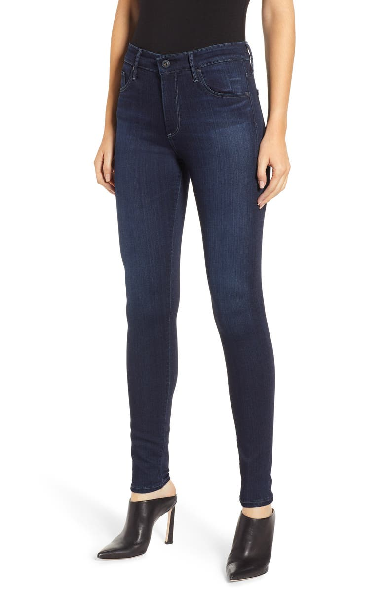 AG Farrah High Waist Skinny Jeans, Main, color, BLUE BASIN