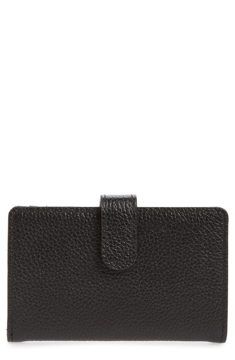 NORDSTROM Kelly Leather Card Case, Main, color, BLACK